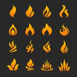 Fire flame icon set. In  format Stock Image