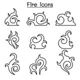 Fire, flame icon set in thin line style. Vector illustration graphic design Royalty Free Stock Images