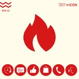 Fire, flame icon. Signs and symbols - graphic elements for your design Royalty Free Stock Images