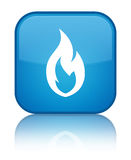 Fire flame icon special cyan blue square button Stock Images