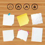 Fire flame icons. Heat signs. Business paper banners with notes. Fire flame icons. Heat symbols. Inflammable signs. Sticky colorful tape. Vector Royalty Free Stock Images