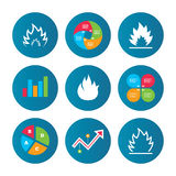 Fire flame icons. Heat signs. Business pie chart. Growth curve. Presentation buttons. Fire flame icons. Heat symbols. Inflammable signs. Data analysis. Vector Royalty Free Stock Photography