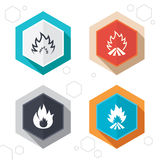 Fire flame icons. Heat signs. Hexagon buttons. Fire flame icons. Heat symbols. Inflammable signs. Labels with shadow. Vector Stock Photos