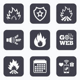Fire flame icons. Heat signs. Mobile payments, wifi and calendar icons. Fire flame icons. Heat symbols. Inflammable signs. Go to web symbol Stock Images