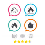 Fire flame icons. Heat signs. Fire flame icons. Heat symbols. Inflammable signs. Calendar, internet globe and report linear icons. Star vote ranking. Vector Royalty Free Stock Photo