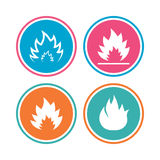 Fire flame icons. Heat signs. Fire flame icons. Heat symbols. Inflammable signs. Colored circle buttons. Vector Stock Images