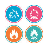 Fire flame icons. Heat signs. Fire flame icons. Heat symbols. Inflammable signs. Colored circle buttons. Vector Stock Photo