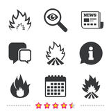 Fire flame icons. Heat signs. Fire flame icons. Heat symbols. Inflammable signs. Newspaper, information and calendar icons. Investigate magnifier, chat symbol Stock Images