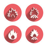 Fire flame icons. Heat signs. Fire flame icons. Heat symbols. Inflammable signs. Pink circles flat buttons with shadow. Vector Stock Photo