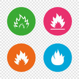 Fire flame icons. Heat signs. Fire flame icons. Heat symbols. Inflammable signs. Round buttons on transparent background. Vector Royalty Free Stock Image