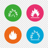 Fire flame icons. Heat signs. Fire flame icons. Heat symbols. Inflammable signs. Round buttons on transparent background. Vector Stock Photography