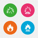 Fire flame icons. Heat signs. Fire flame icons. Heat symbols. Inflammable signs. Round buttons on transparent background. Vector Royalty Free Stock Photo