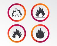 Fire flame icons. Heat signs. Fire flame icons. Heat symbols. Inflammable signs. Infographic design buttons. Circle templates. Vector Royalty Free Stock Image