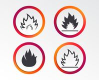 Fire flame icons. Heat signs. Fire flame icons. Heat symbols. Inflammable signs. Infographic design buttons. Circle templates. Vector Royalty Free Stock Photography