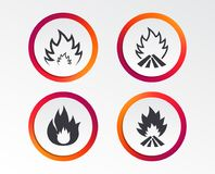 Fire flame icons. Heat signs. Fire flame icons. Heat symbols. Inflammable signs. Infographic design buttons. Circle templates. Vector Stock Image