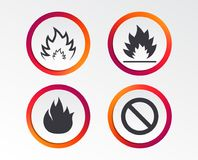 Fire flame icons. Prohibition stop symbol. Fire flame icons. Prohibition stop sign symbol. Infographic design buttons. Circle templates. Vector Stock Photography