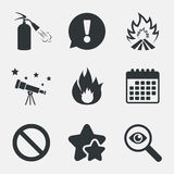 Fire flame icons. Prohibition stop symbol. Stock Photo