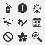 Fire flame icons. Prohibition stop symbol. Royalty Free Stock Images