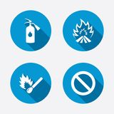 Fire flame icons. Prohibition stop symbol Royalty Free Stock Photography