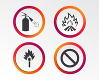 Fire flame icons. Prohibition stop symbol. Fire flame icons. Fire extinguisher sign. Prohibition stop symbol. Burning matchstick. Infographic design buttons Stock Image