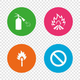 Fire flame icons. Prohibition stop symbol. Fire flame icons. Fire extinguisher sign. Prohibition stop symbol. Burning matchstick. Round buttons on transparent Stock Photos