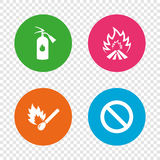 Fire flame icons. Prohibition stop symbol. Fire flame icons. Fire extinguisher sign. Prohibition stop symbol. Burning matchstick. Round buttons on transparent Stock Photography