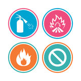 Fire flame icons. Prohibition stop symbol. Royalty Free Stock Photography