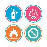 Fire flame icons. Prohibition stop symbol. Fire flame icons. Fire extinguisher sign. Prohibition stop symbol. Colored circle buttons. Vector Stock Photo