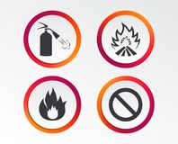 Fire flame icons. Prohibition stop symbol. Fire flame icons. Fire extinguisher sign. Prohibition stop symbol. Infographic design buttons. Circle templates Royalty Free Stock Image