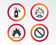 Fire flame icons. Prohibition stop symbol. Fire flame icons. Fire extinguisher sign. Prohibition stop symbol. Infographic design buttons. Circle templates Stock Photography