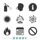 Fire flame icons. Prohibition stop symbol. Fire flame icons. Fire extinguisher sign. Prohibition stop symbol. Information, go to web and calendar icons. Sun and Stock Photo