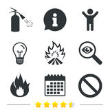 Fire flame icons. Prohibition stop symbol. Fire flame icons. Fire extinguisher sign. Prohibition stop symbol. Information, light bulb and calendar icons Stock Images