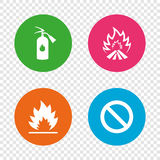 Fire flame icons. Prohibition stop symbol. Fire flame icons. Fire extinguisher sign. Prohibition stop symbol. Round buttons on transparent background. Vector Royalty Free Stock Photo