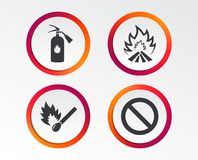 Fire flame icons. Prohibition stop symbol. Fire flame icons. Fire extinguisher sign. Prohibition stop symbol. Burning matchstick. Infographic design buttons Royalty Free Stock Photography