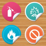 Fire flame icons. Prohibition stop symbol. Round stickers or website banners. Fire flame icons. Fire extinguisher sign. Prohibition stop symbol. Circle badges Royalty Free Stock Photos