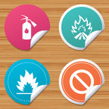 Fire flame icons. Prohibition stop symbol. Round stickers or website banners. Fire flame icons. Fire extinguisher sign. Prohibition stop symbol. Circle badges Royalty Free Stock Photo