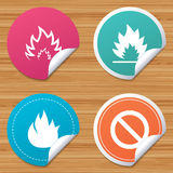 Fire flame icons. Prohibition stop symbol. Round stickers or website banners. Fire flame icons. Prohibition stop sign symbol. Circle badges with bended corner Royalty Free Stock Photography