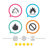 Fire flame icons. Prohibition stop symbol. Fire flame icons. Prohibition stop sign symbol. Calendar, internet globe and report linear icons. Star vote ranking Stock Photo