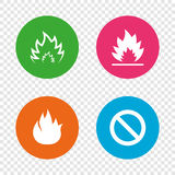Fire flame icons. Prohibition stop symbol. Fire flame icons. Prohibition stop sign symbol. Round buttons on transparent background. Vector Royalty Free Stock Photos