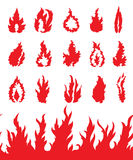Fire flame icons set. 15 decorative fire flame icons set Stock Images