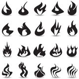 Fire flame icons set. Fire flame icons set on a white background with a shadow Stock Photo