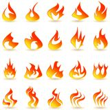 Fire flame icons set. Fire flame icons set on a white background with a shadow Stock Photos