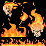 Fire flame illustration and burned skull, layered, Royalty Free Stock Photography