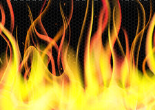 Fire flame. Illustration of burning fire flame on metal mesh black background Royalty Free Stock Photo