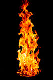Fire flame isolated on black isolated background - Beautiful yel Royalty Free Stock Images