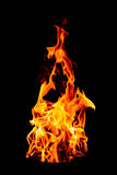 Fire flame isolated on black isolated background - Beautiful yel Royalty Free Stock Image
