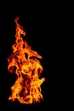 Fire flame isolated on black isolated background - Beautiful yel Stock Photography