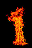 Fire flame isolated on black isolated background - Beautiful yel Stock Photos