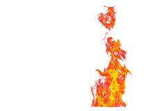 Fire flame isolated on white isolated background - Beautiful yel Stock Image