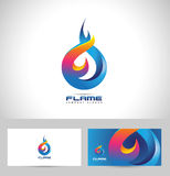 Fire Flame Logo. Creative vector logo design with hot fire flames and business card template Royalty Free Stock Image